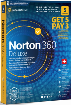 Norton Security 360 Deluxe 50GB 5for3 Device [PC/Mac/Android/iOS]