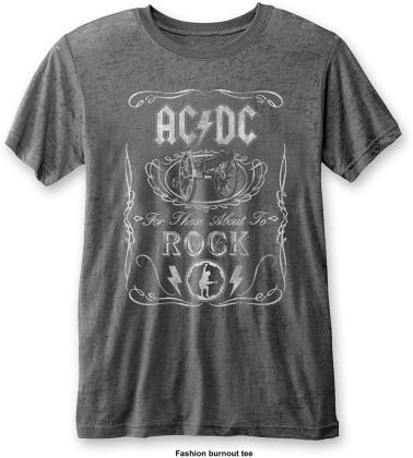 AC/DC Unisex Fashion Tee - Cannon Swig (Burn Out)