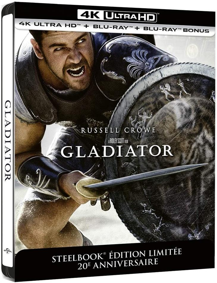 Gladiator (2000) (20th Anniversary Edition, Kinoversion, Limited Edition, Langfassung, Steelbook, 4K Ultra HD + Blu-ray)