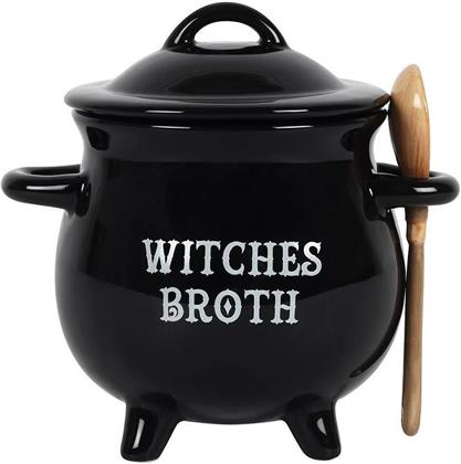 Witches Broth Cauldron - Soup Bowl with Broom Spoon