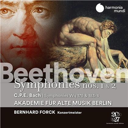 Akademie für Alte Musik Berlin, Ludwig van Beethoven (1770-1827), Carl Philipp Emanuel Bach (1714-1788) & Bernhard Forck - Symphonies 1 & 2, Symphonies Wq 175 & 183/4
