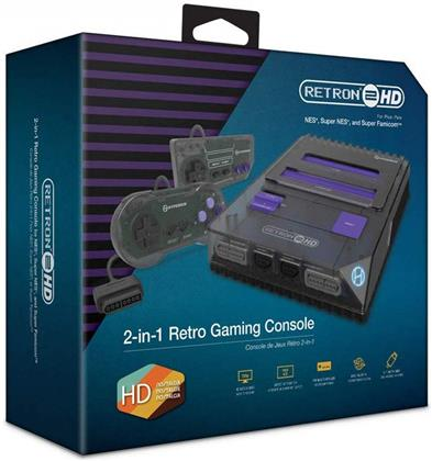 Retron 2 HD Konsole schwarz Hyperskin - for NES / Super NES, inkl. 2 Controller