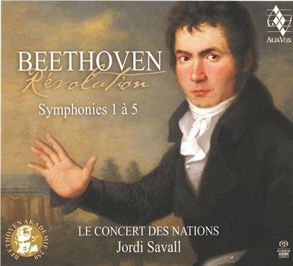 Ludwig van Beethoven (1770-1827), Jordi Savall & Le Concert des Nations - Révolution - Symphonies 1 à 5 (3 SACDs)