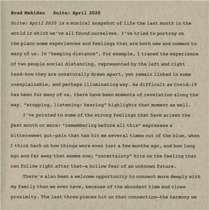 Brad Mehldau - Suite: April 2020