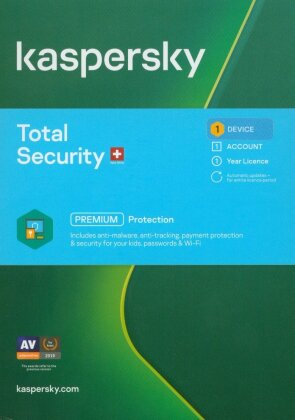 Kaspersky Total Security 1 Gerät SWISS EDITION - (Code in a Box)