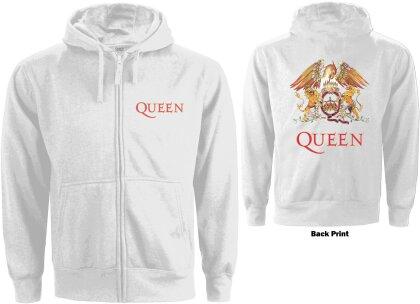 Queen Ladies Zipped Hoodie - Classic Crest (Back Print)