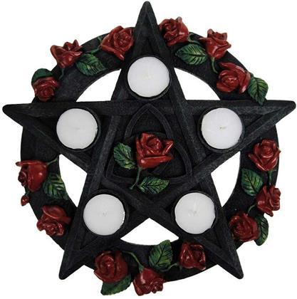 Gothic Black Pentagram Rose Tealight Holder - Candle Holder