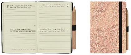 Mini 2-Day Diary 12 Month 2021 - Metallic Rose Gold