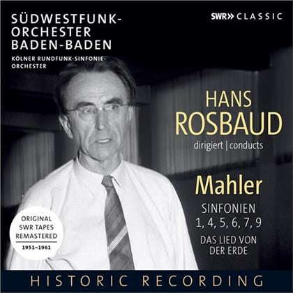 Gustav Mahler (1860-1911), Hans Rosbaud & Südwestfunk-Orchester Baden-Baden - Sinfonien 1, 4, 5, 6, 7, 9, Das Lied Von Der Erde (Remastered)