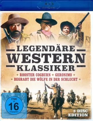 Legendäre Western Klassiker - Rooster Cogburn / Geronimo / Begrabt die Wölfe in der Schlucht (3 Blu-ray)