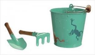 Garten-Frosch-Set mit Eimer - Hacke & Schaufel aus Blech