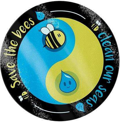 Save the Bees Clean Our Seas - Glass Chopping Board