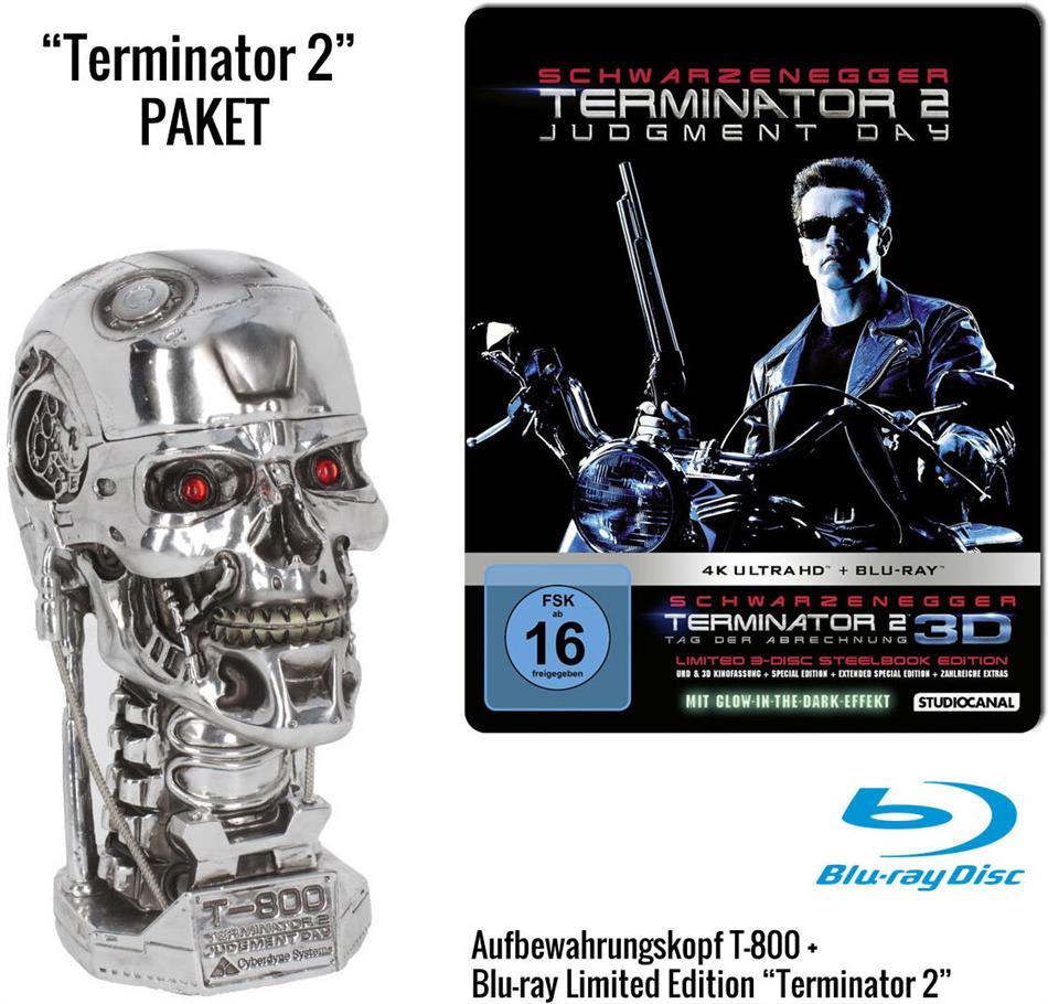 Terminator 2 - + Aufbewahrungskopf T-800 Metall-Head (1991) (Edizione Limitata, Steelbook, 4K Ultra HD + Blu-ray 3D + Blu-ray)