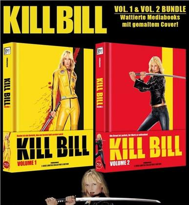 Kill Bill - Vol. 1 & 2 Bundle (Wattiert, Cover B, Limited Collector's Edition, Mediabook, 2 Blu-rays + 2 DVDs)