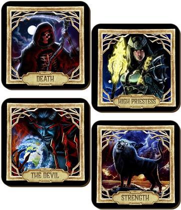 Deadly Tarot Obsidian Death, Strength, The Devil & High Priestess 4 Piece Coaster Set