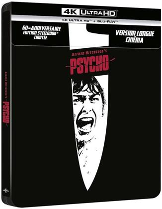Psycho (1960) (60th Anniversary Edition, s/w, Kinoversion, Limited Edition, Langfassung, Steelbook, Uncut, 4K Ultra HD + Blu-ray)