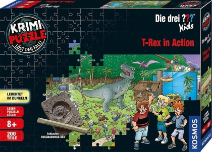 Die drei ??? Kids: T-Rex in Action - 200 Teile Krimi Puzzle + Ausgrabungs-Set