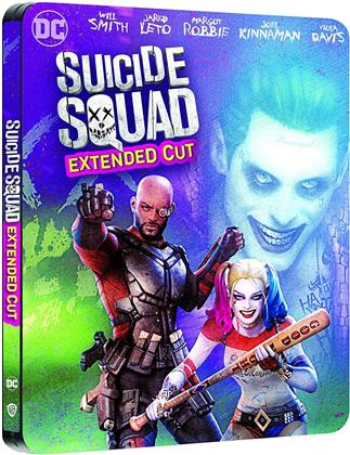 Suicide Squad (2016) (Extended Cut, Comic Cover, Kinoversion, Limited Edition, Steelbook, 4K Ultra HD + 2 Blu-rays)