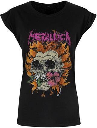 Metallica: Flower Skull Pink Logo - Ladies T-Shirt