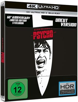 Psycho (1960) (s/w, Limited Edition, Steelbook, 4K Ultra HD + Blu-ray)