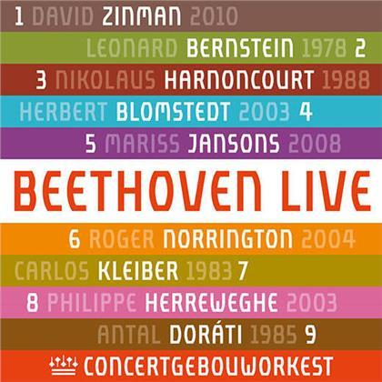 Concertgebouworkest, Ludwig van Beethoven (1770-1827), David Zinman, Leonard Bernstein (1918-1990), Nikolaus Harnoncourt, … - Symphonies 1-9 - Beethoven Live (5 CDs)