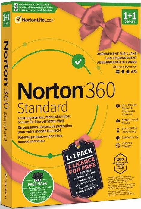 Norton Security 360 Standard 1+1 inkl. Face Mask [PC/Mac/Android/iOS]