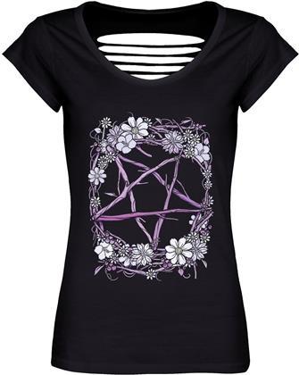 Pagan Pentagram Ladies Black Razor Back T-Shirt
