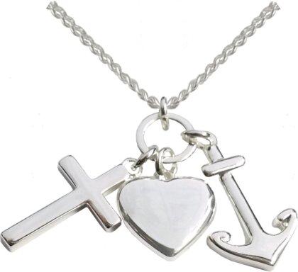 Kette - Halskette mit Kreuz-, Herz- und Ankeranhänger (versilbert)