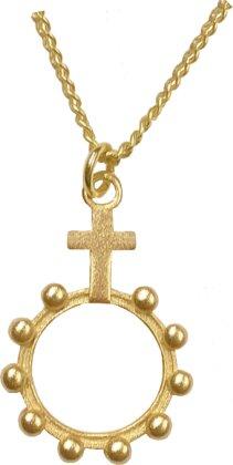 Kette - Halskette mit Rosenkranzanhänger (vergoldet)