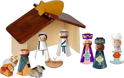 Krippe aus Holz mit zehn Figuren