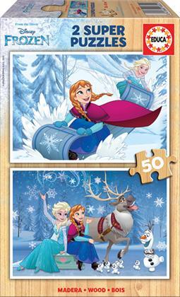 Disney: Frozen - 2 x 50 Teile Holzpuzzles