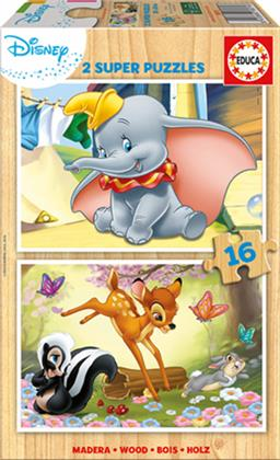 Dumbo & Bambi - 2x 16 Teile Holzpuzzles