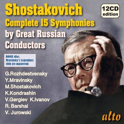 Yevgeni Mravinsky, Gennadi Rozhdestvensky, Maxim Shostakovich, Kirill Kondraschin, Valery Gergiev, … - Complete 15 Symphonies By Great Russion Conductors (12 CDs)