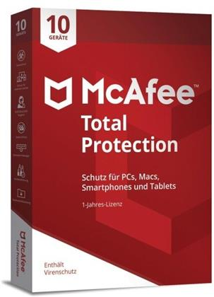 McAfee Total Protection 10 Device 2021 (10 Geräte I 1 Jahr) (Code in a Box) (PC+MAC)