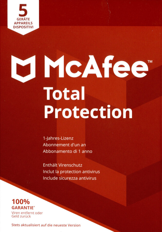 McAfee Total Protection 5 Device 2021 (5 Geräte I 1 Jahr) (Code in a Box) (PC+MAC)