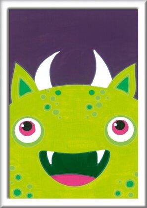 Freches Monster - Acrylmaltafel, Acrylfarben, Pinsel, Firnis, Rahmen
