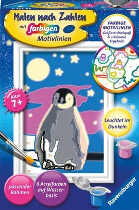 Kleiner Pinguin - Acrylmaltafel, Acrylfarben, Pinsel, Firnis, Rahmen