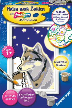 Wolfsportrait - Acrylmaltafel, Acrylfarben, Pinsel, Firnis, Rahmen
