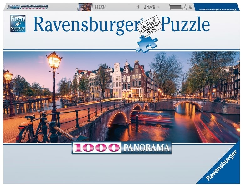 Abend in Amsterdam - 1000 Teile Panorama Puzzle
