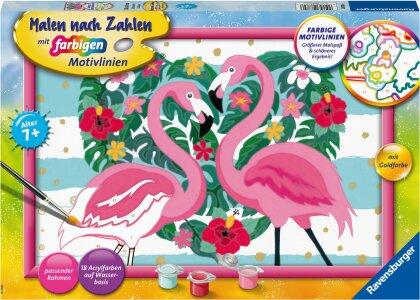 Liebenswerte Flamingos - Acrylmaltafel, Acrylfarben, Pinsel, Rahmen