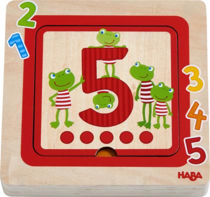 Zahlenfreunde - 5 Teile Holzpuzzle