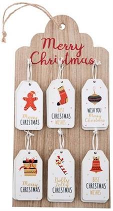 Weihnachten Geschenkanhänger Set - aus Holz, 12 Stück