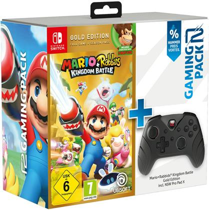 ready2gaming Nintendo Switch Mario & Rabbids Kingdom Battle (Gold) + Pro Pad X - Action Bundle