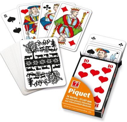 Piquetkarten mit grossen Zahlen - Schweizer Scherenschnitt