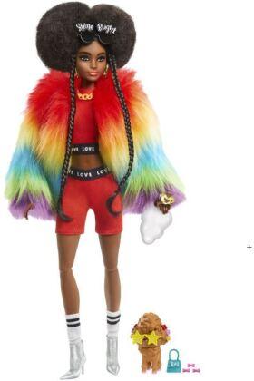 Barbie Extra Puppe mit Afro und Regenbogen-Jacke