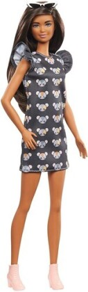 Barbie - With Long Brunette Hair Wearing Mouse Print Dress
