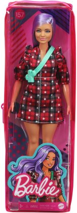 Barbie - Curvy With Lavender Hair Wearing Red Plaid Dress