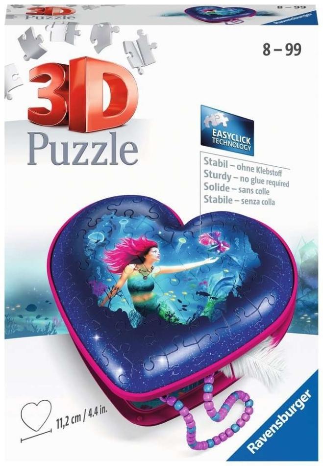 Herzschatulle: Bezaubernde Meerjungfrauen - 54 Teile 3D Puzzle