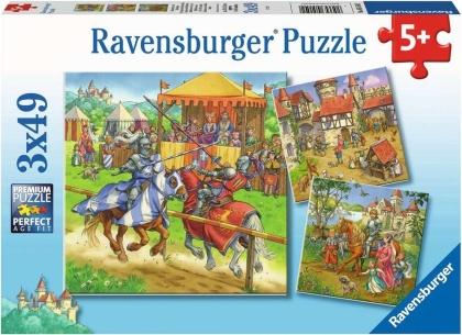 Ritterturnier im Mittelalter - 3 x 49 Teile Puzzles