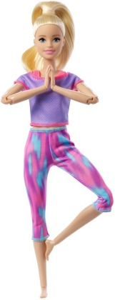 Barbie Made to Move Puppe (blond) im lila Yoga Outfit